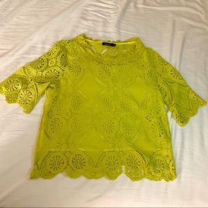Chartreuse BooHoo Lace Blouse